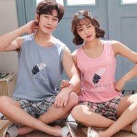 Pajama는 커플을 세트 여성 조끼를위한 새로운 여름 옷을 입고 짧은 바지 남성 잠옷 니트 면화 LJ200921