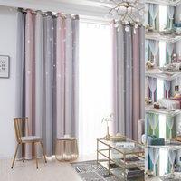1/2/4 panneaux fenêtre rideau de fenêtre double couche Tulle superposition creux de drapé découpé étoiles ombre rideau salon rideau lj201224