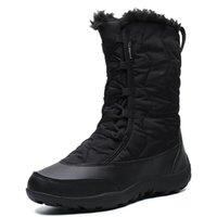 أحذية الرحلات في الهواء الطلق MidCalf أحذية الموضة ستوكات أحذية نسائية المرأة التنزه شتاء دافئ القطيفة المرأة سنو