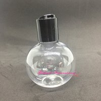 50pcs / lot enlatado frascos bola botella transparente redonda Esfera PET w / Negro suave Disco Tapas superiores paquete lindo loción esférico Contenedores
