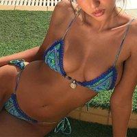 Ishowtienda женщин печати повязки бикини набор бразильских купальников пляжная одежда купальник бикини де Муйер Конвед # l41