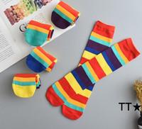 패션 레이디 이상 무릎 긴 줄무늬 무지개 인쇄 스타킹 허벅지 높은 스트라이프 무늬 양말 달콤한 귀여운 여자 여자 Socking