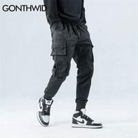 Gonthwid lateral zíper bolsos cargo harem corredores calças homens 2020 hip hop casual harajuku streetwear calças calças macias lj200827