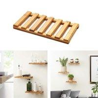 Ganchos Rails Prateleiras Flutuantes de Parede, Planta Flower Po Display Prateleira, Natural Bambu Estabelecimentos Para Home-10 em