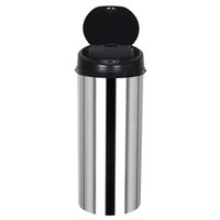 WACO Inductive Touchless Full-automatic Trash Can, Waste Bins 13 Gallon Touchless-Sensor for Home Kitchen Office, Round Stainless Steel