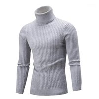 남성용 스웨터 남자 솔리드 컬러 니트 가을과 겨울 기본 셔츠 Turtelneck 남성 긴 소매 캐주얼 풀오버 스웨터 1