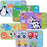 Çocuk 6 in 1 karikatür hayvan trafik dinozor demir kutusu bulmaca okul öncesi anaokulu montessori eğitim bilmecenin oyuncaklar