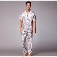 Hommes Satin Satin Heightwear Set Sleeve Pantalon long Pantalon Print Pyjamas Homme Homme Casual Habillement Vêtements Automne Ouvrir Point Nightwear T200813