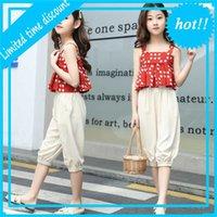 Одна летняя девушка наборы одежды Mouwlless Pak Dot Tops + Shorts Fit 4-13 год детей из одежды
