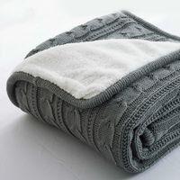 Heißer verkauf plus samt dick gestrickte decke hochwertige winter warme gestrickte wolle decke sofa / bett abdeckung quilt gestrickte decke 201109