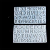 Petit bricolage Résine silicone Moule pour lettres Lettre Mold Alphabet Numéro silicone Moisissures Numéro Alphabet Bijoux Trousseau Moule HHA2047