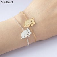 V Atrair o animal australiano bonito Koala pulseira para mulheres 2018 cadeia de aço inoxidável pulseira masculina ouro prata bijoux1