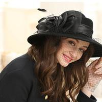 2019 Affascinante Fedoras Elegante Female Femminile Feltro Mesh Bow FloralBox Cappello di Pillbox con veli Ladies Fascinator Jazz Hat LM022 H Jllkda