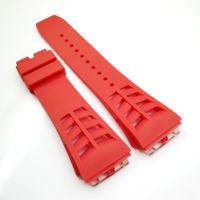 25mm Kırmızı Watch Band 20mm Katlanır Toka RM011 RM için Kauçuk Kayış 50-03 RM50-01
