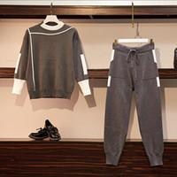 CBAFU L-4XL artı elastik pantolon takım elbise pantolon sıcak P506 set kazak kazak eşofman boyutu örme set sonbahar kış kadınlar