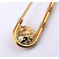 Tête de lion métallique Broche Broche Femmes Hommes Animal Lion Head Broche Support Pin Pin Gold Wholesale Sqcuumi New_Dhbest