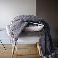 Одеяла уравнение 100% хлопок, коренастый вязание одеяло сплошной бондушный вязаный домашний офис диван NAP OP20 # 1
