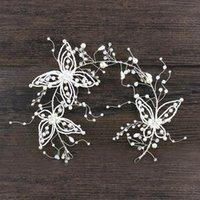Pinzas para el cabello Barrettes Le Liin Cristal de cristal de la mariposa de la mariposa de la mariposa para las tasseles Conjuntos de accesorios de boda Tocado de la novia de la vid