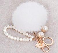 Moda İmitasyon Tavşan Kürk Topu Anahtarlık Inci Boncuklu Kürk Ponpons Anahtar Yüzükler Anahtarlıklar Kadın Araba Çantası Charms Kolye Chaveiro