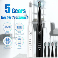 Ultrasons Sonic Brosse à dents électrique rechargeable brosses à dents Lavable électronique Blanchiment des dents Brosse pour adultes Brosse minuterie
