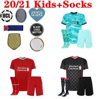 Kids Kit Mohamed Salah Fridsino Soccer Jersey Football Shirts Youth Boys 20 21 Virgil Mane A.Becker 2020 2021 الزي الرسمي