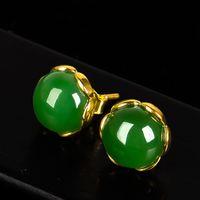 Großhandel - schöne und modische Hetian Jade Jade 18K Gold Ohrringe, retro Damen Smaragd Ohrringe, grüne Ohrringe Jade