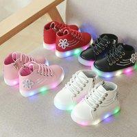 Bibihou sapatilhas meninas levou sapatos com luz glitter desliza flor impressão casual zip moda borracha sapatos para crianças 2021