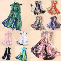 Schals Elegant Seide Schal Damen Mode Pfau Feder Druck Satinschals Lange Hijab Damen Hals Headcarf Bandana