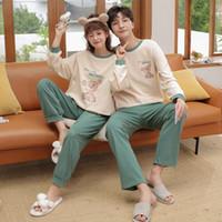 Çift Takım Pijama Kadın Pijama Pijama Sevimli Tam Set Homewear Pamuk Kadın Uzun Kollu Sonbahar Pijamas Boş Zaman W1225