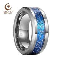 Anello di fidanzamento del carburo del carburo di tungsteno delle donne della banda di nozze da 8 mm con drago blu e imitato intarsio del meteorite 20121818