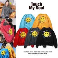 Europäische und amerikanische Tide Pullover Smiley Face Foam Druck Männer und Frauen Plus Samt Pullover Paar