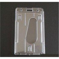 Supporto per distintivo in plastica Transparente duro verticale Doppia carta ID Bussiness Office School Stationery 10x6cm SqCgew Boddet
