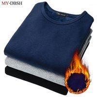 Primavera e outono roupa interior térmica t-shirt de mangas compridas masculinas slim mais grosso cashmere undershirt homem algodão undershirt tshirt1