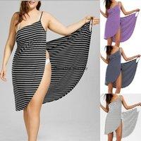 Casual-Kleider S-5XL Abdeckung up Kleid plus Größe Frauen Mode Sleeveless Streifen Druck Baumwolle Strand Wear Wrap1