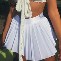FSDA 2020 Summer Donne Bianco A Line Skirt Pleated Mini Black Sexy Club Party Ladies High Vita Gonne Short Casual1