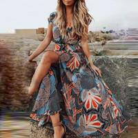 Elegante estampado floral vestidos de fiesta mujeres 2021 primavera sexy v cuello alto split maxi vestido damas manga corta hueco out vestido