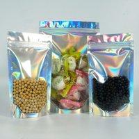 Bolsa de láser, 100pcs Frontal Situación de aluminio de aluminio Bolsa Ziplock, Saco de embalaje de caramelo con cierre con cremallera, paquete de regalo a prueba de polvo