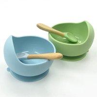 Детские силиконовые кормления набор деревянная ложка всасывающая чаша Детская тарелка Детская малыша помогают посуду BPA Бесплатное высококачественное силикона