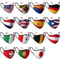 15 Style National Drapeau Masque Pure Coton Face Masque anti-poussière lavable et réutilisable Masques de visage Taille des adultes et des enfants XD24124 HBKOW