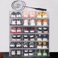 두꺼운 플라스틱 신발 상자 랙 방진 슈 스토리지 상자 투명 플립 캔디 컬러 쌓을 수있는 신발 주최자 상자 도매 0268Pack