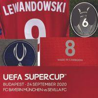 2020 Super Copa Final Lewandowski Jogador Desgastado Player Problema Maillot Camisa Muller Kimmich Martinez Americano Futebol College Wear