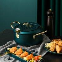 Upgrade Tempura Deep Fryer-Topf mit Thermometer und Öl-Tropf-Rack-Deckel für Hühnchen-Pommes Frites Fische und Shrimpöl-Pfanne
