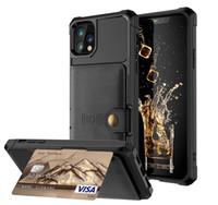 Удароженные PU кожаные карточки слоты держатель держатель стенд кошелек чехлы для iPhone 12 Pro Max 11 XS XR X 8 7 6 Samsung S21