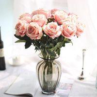 Seide Blumen Künstliche Rosenblume Echte Touch Pfingstrose Dekorative Party Blumen Gefälschte Hochzeit Braut Blumenstrauß Weihnachtsdekor 13 Farben WY1111