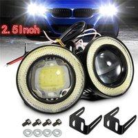 2 pcs 2.5 / 3.5 polegada projetor de projetor LED carro nevoeiro luz halo anjo olhos rings drl branco 12v estrada nevoeiro lâmpada universal1