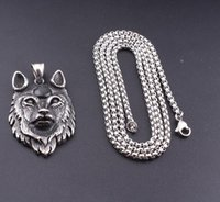 Vintage Silver Wolf Stainless Steel Dog Head Animal Men Retro Hip Hop Punk Rock Pendant Necklace Jewelry Gift
