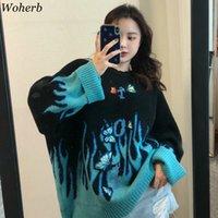 Woherb Осень Зима Harajuku Flame Knit Sweater Бабочка аппликация женщин пуловер вскользь Сыпучие Свитера Streetwear Перемычка 200928