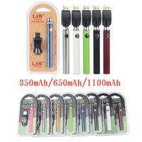 Vertex Vape Battery 350 650 1100 mAh USB Charger Kit 510 Tópico Pré-aqueça o vaporizador da bateria E Baterias Cigarros VV para Atomizadores Cartuchos