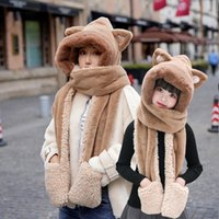 New Thicken Warm Women Hat Scarf Glove Three In One Cute Plush Double Layer Three-Piece Faux Fur Girl Bomber Hat Winter