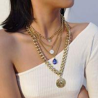 Frauen-Schmetterlings-Halskette Multi-Layer-Anhänger-Halskette Punk Curb Cuban Chunky Hip Hop-Halskette Schmuck
